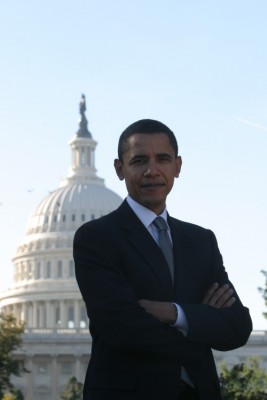 Barack Obama in front of the Capitol